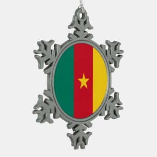 Cameroon Flag Pewter Snowflake Ornament