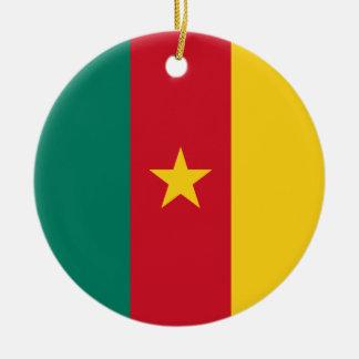 Cameroon Flag Round Ceramic Ornament