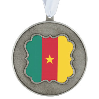 Cameroon Flag Scalloped Pewter Ornament