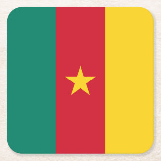 Cameroon Flag Square Paper Coaster