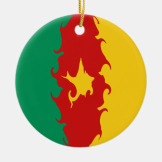 Cameroon Gnarly Flag Round Ceramic Ornament