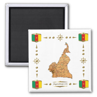 Cameroon Map + Flags Magnet