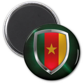 Cameroon Mettalic Emblem 2 Inch Round Magnet