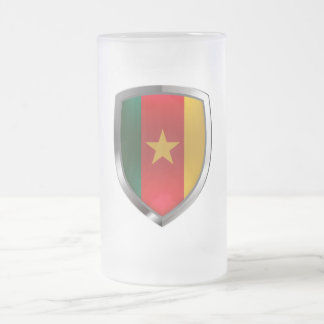 Cameroon Mettalic Emblem Frosted Glass Beer Mug