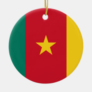 Cameroon National World Flag Round Ceramic Ornament