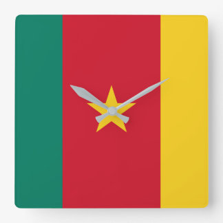 Cameroon National World Flag Square Wall Clock
