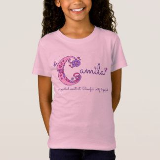 Camila girls name & meaning C monogram pink shirt