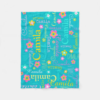 Camila personalize short name aqua pink blanket