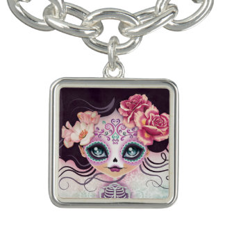 Camila Sugar Skull Day of the Dead Bracelet Charm