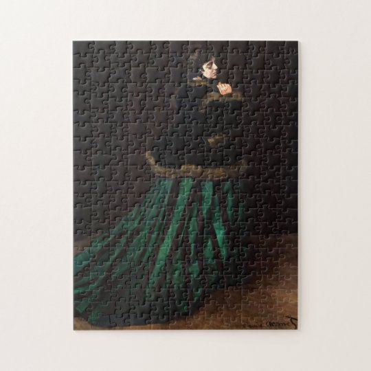 Camille in Green Dress Monet Fine Art Jigsaw Puzzle