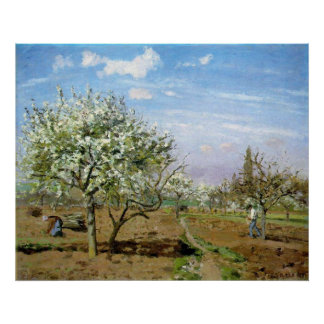 Camille Pissaro - Orchard 1872 Trees White Flowers Poster