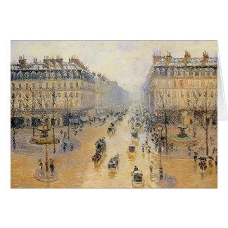 Camille Pissarro- Avenue de l'Opera, Snow Effect Card