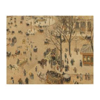 Camille Pissarro - La Place due Theatre Francais Wood Canvases