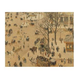 Camille Pissarro - La Place due Theatre Francais Wood Prints