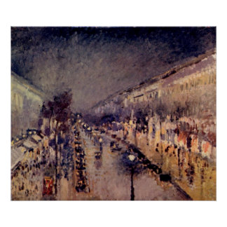 Camille Pissarro - Montmartre blvd @ Night 1898 Poster