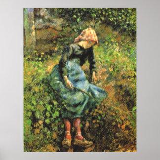Camille Pissarro - Peasant Girl w. Stick 1881 Oil Poster