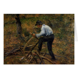 Camille Pissarro- Pere Melon Sawing Wood, Pontoise Card