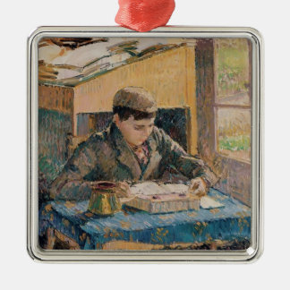 Camille Pissarro- Portrait of Rodo Reading Metal Ornament