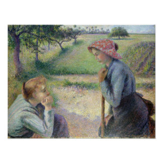 Camille Pissarro Two Young Peasant Women Poster