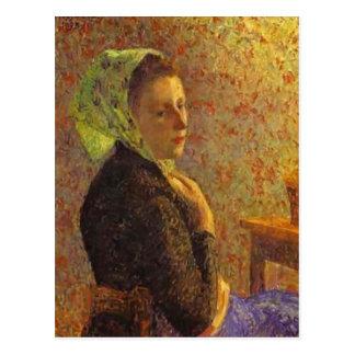 Camille Pissarro- Woman wearing a green headscarf Postcard