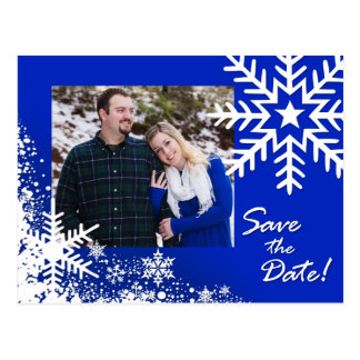 Camille Winter Snowflakes Save the Date Photo Postcard