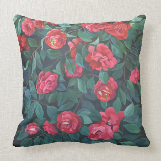 Camillias, lips and berries. throw pillow