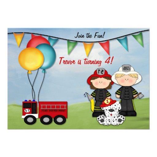 Camion de pompiers et petit anniversaire de pompie cartons d'invitation