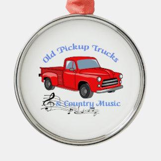 Camions et musique country ornement rond argenté