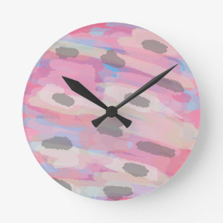 Camo Abstract Pink Pattern Round Clock