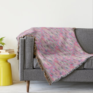 Camo Abstract Pink Pattern Throw Blanket