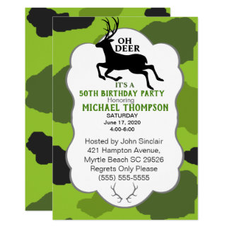 Camo and Deer 50th Birthday Party Card
