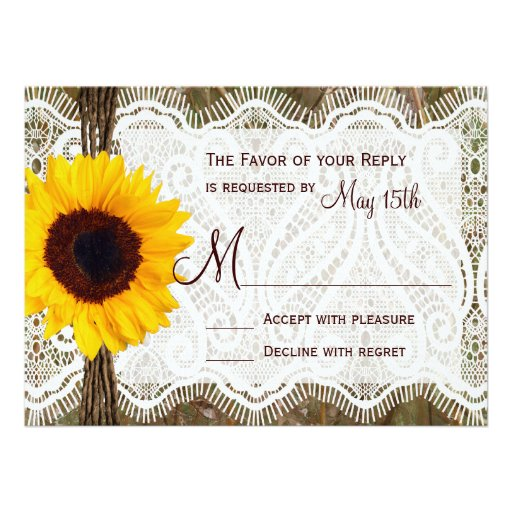 Camo and Lace Sunflower Wedding RSVP Cards