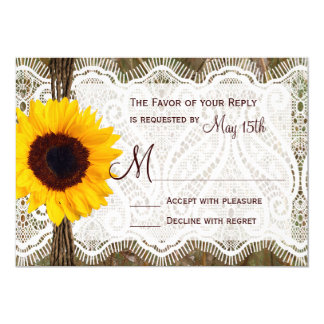 Camo and Lace Sunflower Wedding RSVP Cards Personalized Announcement
