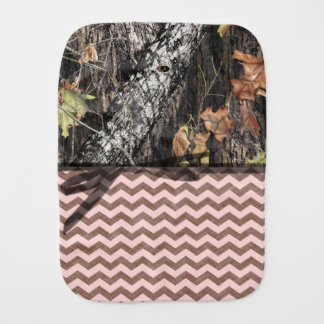 Camo and Pink/Brown Chevron Burp Cloth
