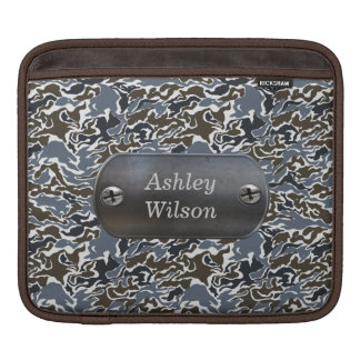 camo army gray personalized iPad sleeve