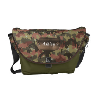 camo army green personalized commuter bags
