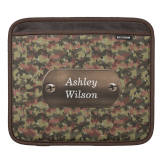 camo army green personalized iPad sleeves