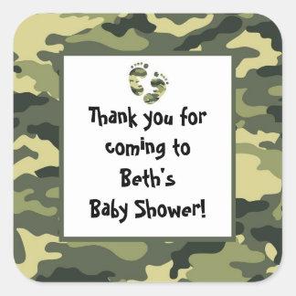 Camo Baby Shower Feet Favor Sticker green