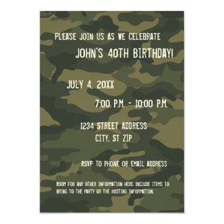 Camo Birthday Party Invitation