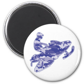 Camo Blue Sled on Black copy 2 Inch Round Magnet