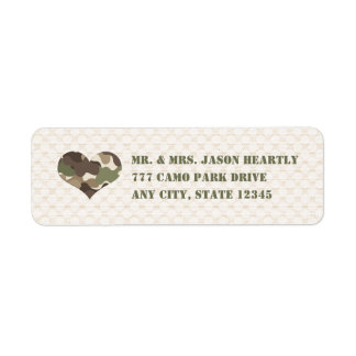 Camo Camouflage Heart Return Address Labels