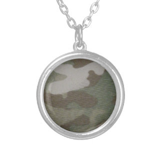 camo Camouflage Pattern Silver Plated Necklace
