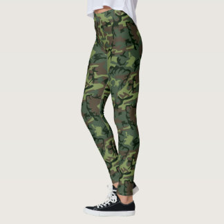 Camo Camouflage Patterned Green Brown Leggings