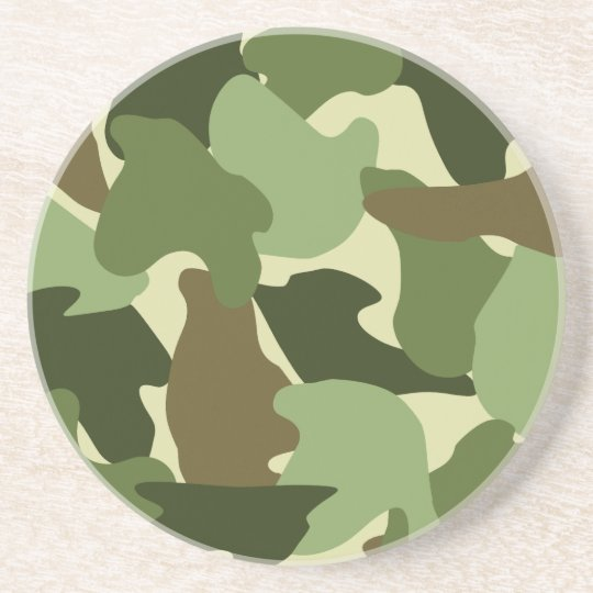 Camo / Camouflage Print in Greens, Khaki and Brown Coaster