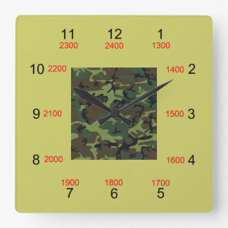 Camo Center Military Time Wall Clock