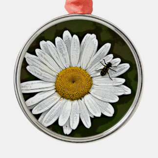 Camo Daisy Silver-Colored Round Ornament