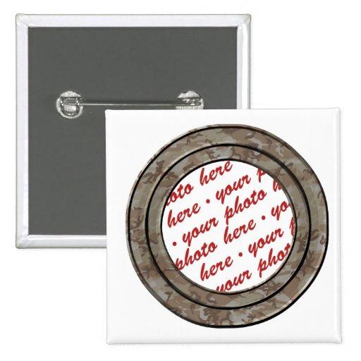 Camo Desert Circle Photo Frame Template Pinback Button