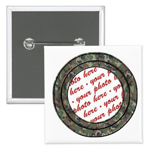 Camo Forest / Woodland Circle Photo Frame Template Pinback Button