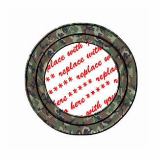 Camo Forest / Woodland Circle Photo Frame Template Cut Out