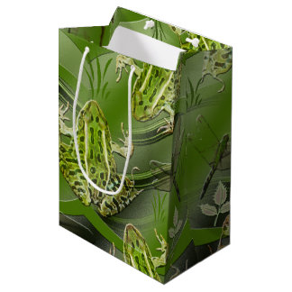 Camo Frogs Dragonflies Medium Gift Bag